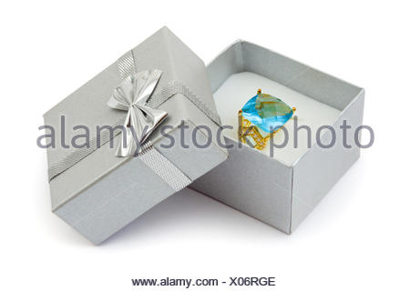 Gold ring in gift box - Stock Photo