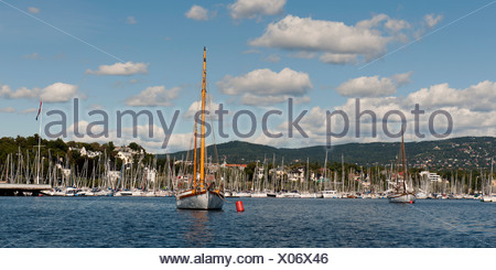 Sailboats In The Harbour; Oslo, Norway - Stock Photo