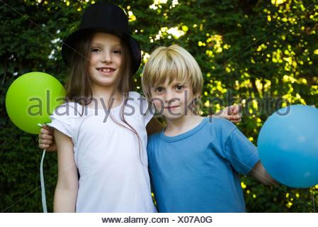 Childhood friends, portrait - Stock Photo