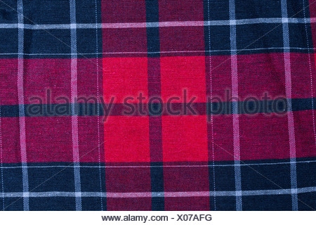 Texture of red-black checkered fabric - Stock Photo