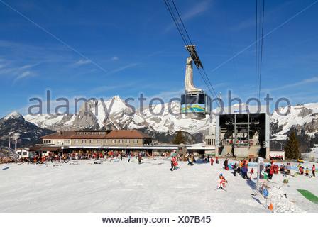 Restaurant on the Iltios mountain and the aerial railway station - Unterwasser, Canton of St. Gallen, Switzerland, Europe. - Stock Photo