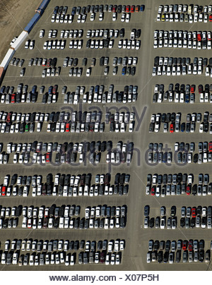 Aerial view of cars in parking lot - Stock Photo