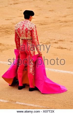 Bullfighter with cape capote, in Las Ventas Bullring, Madrid, Spain, Iberian Peninsula, Europe - Stock Photo