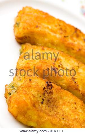 cheese spinach stuffing stuffed fillet potato potatoe food aliment macro - Stock Photo