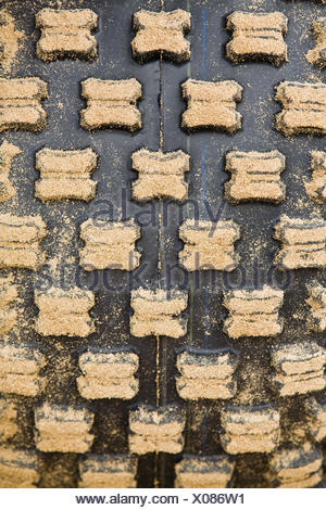 Quad, tyre, tread, Sand, close up, - Stock Photo