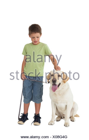 Cute little boy standing with his labrador dog - Stock Photo