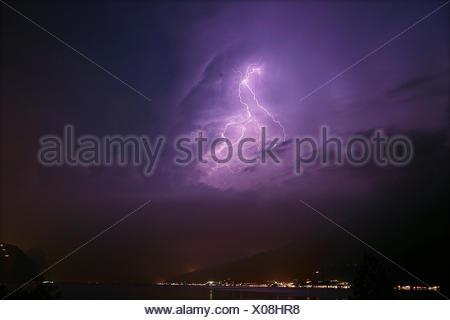 Flash over the Lake Garda - Stock Photo