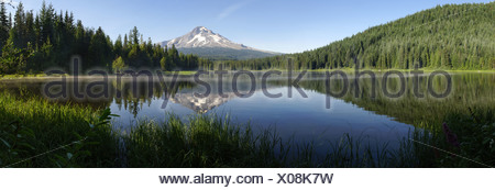 Oregon USA Trillium lake volcano Mount Hood Cascade range America American mountain mountains mountain lake summit peak scenery - Stock Photo
