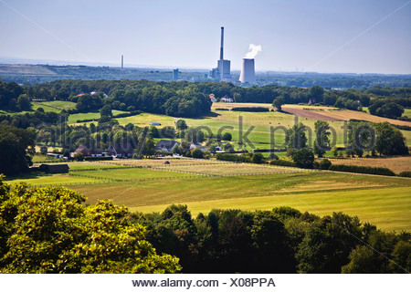 view over cultural landscape in Selm to the coal-fired power station Bergkamen, Germany, North Rhine-Westphalia, Ruhr Area, Selm - Stock Photo