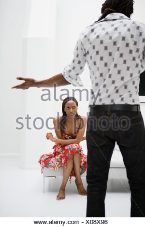 African couple having argument - Stock Photo