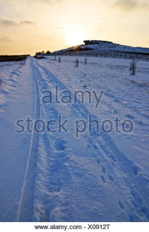 Trail in the snow - Stock Photo