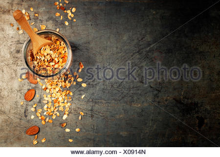 Granola. Healthy eating concept. Copy space background, top view flat lay overhead - Stock Photo