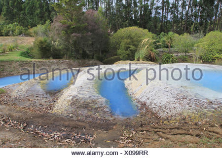 sinter terraces in a geothermal area at lake taupo, taupo volcanic zone, north island, new zealand - Stock Photo