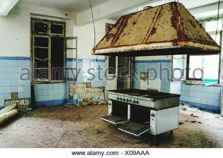 View Of An Abandoned Kitchen - Stock Photo