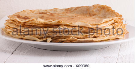 Delicious Pancakes on Plate Served - Stock Photo