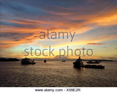 Silhouettes of industrial vessels in sea at sunset - Stock Photo