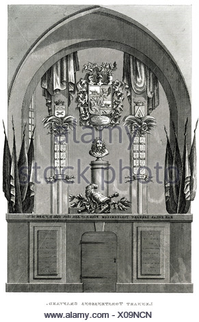 Torstensson, Lennart, 17.8.1603 - 7.4.1651, Swedish General, tomb, Riddarholmskyrka, Stochholm, steel engraving, 19th century, , - Stock Photo