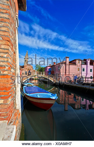 Italy, Europe, Burano Island, near Venice, Venezia, colorful, houses, lively, leaning tower, San Martino, church, canal, bridge - Stock Photo