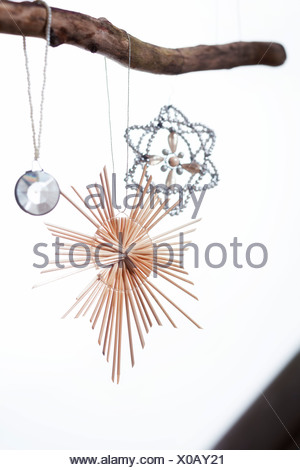 Christmas ornaments hanging from branch, Munich, Bavaria, Germany - Stock Photo