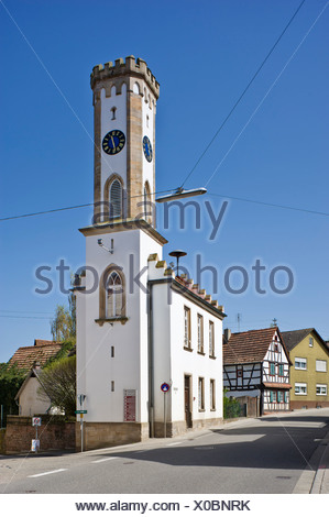 Tuermel tower, Oberhausen, Pfalz, Rhineland-Palatinate, Germany, Europe - Stock Photo
