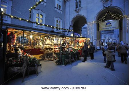 christmas market in Salzburg, Austria - Stock Photo