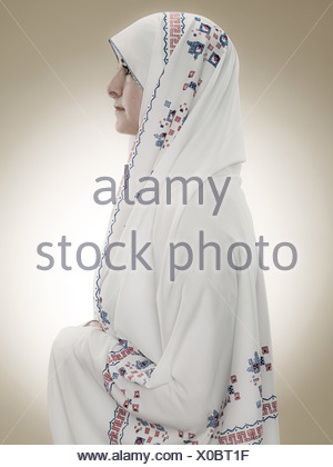 Profile of a young muslim woman - Stock Photo