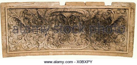 Two carved panels, Portugal(?), 18th century. Oak with high carved leafy and flowery vines. There is a cartouche in the centre with an orb, framed by two curved arches, the inside also bears somewhat flatter vine carvings with poppy heads or pomegranates. Minor damage and nicks. 56 x 220 cm and 56 x 130 cm. This would appear to be pieces of sheathing from a Portuguese sailing ship of the 18th century. Very interesting maritime object. historic, historical, 18th century, fine arts, art, art object, art objects, artful, precious, collectible, collector's item, co, Additional-Rights-Clearances-NA - Stock Photo