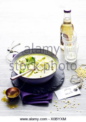 Coconut soup with lentils and sprouts - Stock Photo