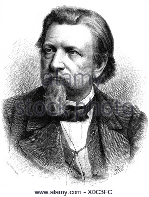 Gutzkow, Karl Ferdinand, 17.3.1811 - 16.12.1878, German author / writer, portrait, wood engraving, by Adolf Neumann (1825 - 1884), Additional-Rights-Clearances-NA - Stock Photo