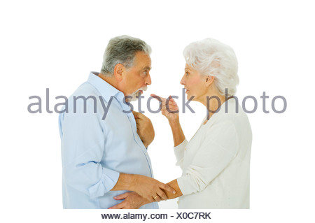 elderly couple disagreement - Stock Photo