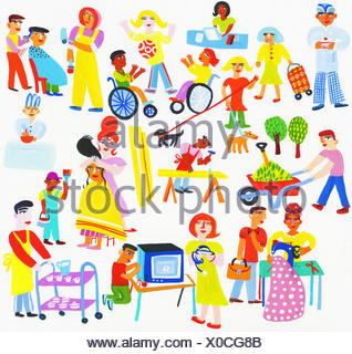 Lots of people working, walking and playing in a community - Stock Photo
