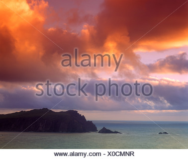 Afterglow, Horn Head, County Donegal, Republic of Ireland, Europe - Stock Photo
