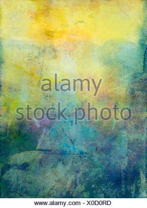 aquarell gouache textur, analoge und digitale mixed media - Stock Photo