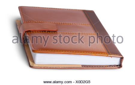 Closed notebook in leather cover rotated - Stock Photo