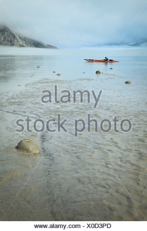 A kayaker lands on a flat silt beach on a foggy day in Muir Inlet, Glacier Bay National Park & Preserve, Southeast Alaska - Stock Photo