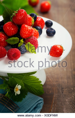 Assorted berries on a plate - Stock Photo