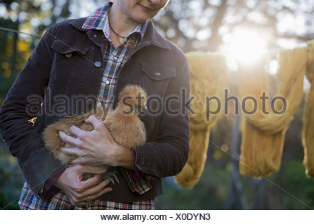 A woman holding a small brown fluffy chicken washing line Autumn sunshine filtering through trees - Stock Photo