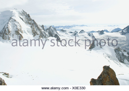 Italy - France, Mont Blanc, view of Vallee Blanche from the Aiguille du Midi - Stock Photo