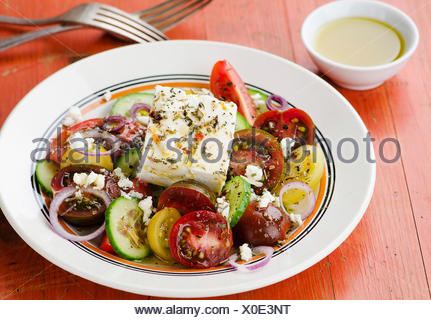 Greek salad with feta cheese - Stock Photo