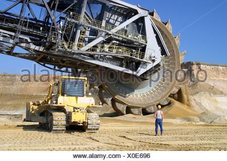 opencast,bucket excavator,mining,bucket wheel excavator - Stock Photo