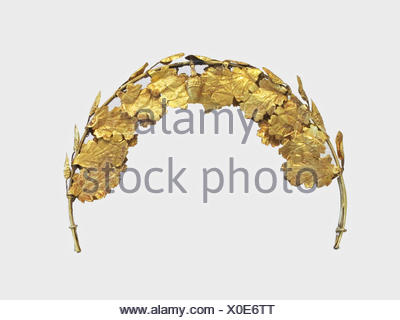 Gold funerary wreath. Period: Imperial; Date: 1st-2nd century A.D; Culture: Roman; Medium: Gold; Dimensions: Other: 12 1/2 in. (31.8 cm); - Stock Photo