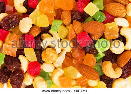 Dried tropical  fruits and nuts - Stock Photo