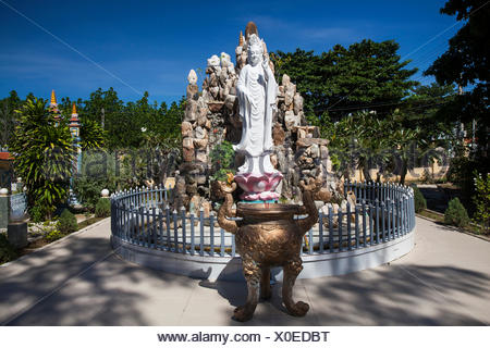 Buddha, figure, Dieu, An, Thap, Cham, Phan, Rang, Ninh, Rang, outside, pagoda, pagoda tower, place of interest, day, traditional, - Stock Photo