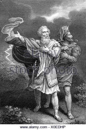Shakespeare, William, 23.4.1564 - 23.4.1616, English poet, works, 'King Lear', act 3, scene 2, copper engraving, Artist's Copyright has not to be cleared - Stock Photo