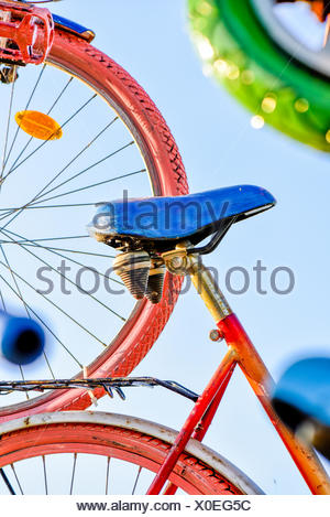 Bicycle art installation, Austria, Burgenland - Stock Photo