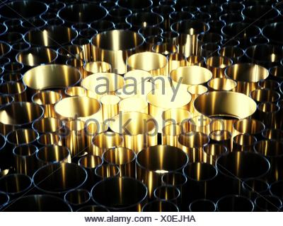 High Angle View Of Metal Containers - Stock Photo