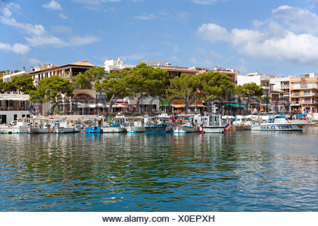 Harbour scene, boats, Cala Ratjada, Majorca, Balearic islands, Spain, Mediterranean Sea, Europe - Stock Photo