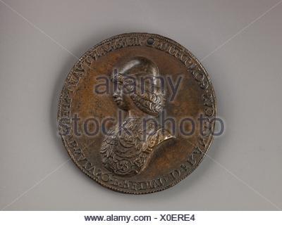 Medal: Francesco II Gonzaga. Artist: Bartolommeo Melioli (Italian, Mantua, 1448-1514); Date: model ca. 1480 or 1484 (cast 16th or 17th century); - Stock Photo