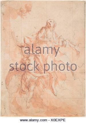 The Assumption of the Saint Mary Magdalen. Artist: Cosmas Damian Asam (German, Benediktbeuern 1686-1739 Munich); Date: 1700-1739; Medium: Graphite - Stock Photo