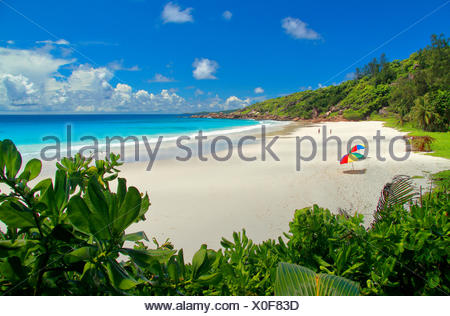 bay with sand beach, Seychelles, La Digue, Petit Anse - Stock Photo